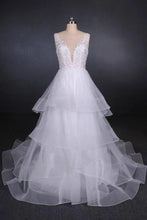 Load image into Gallery viewer, Elegant V-neck Tulle Open Back Wedding Dresses Asymmetrical Long Bridal Dresses XHMPST15217