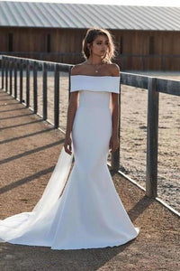 Elegant Mermaid Ivory Off the Shoulder Wedding Dresses Long Simple Wedding Gowns XHMPST15179