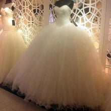 Load image into Gallery viewer, Sparkly Ball Gown Tulle Strapless Ivory Wedding Dresses Long Bridal Dresses XHMPST15429