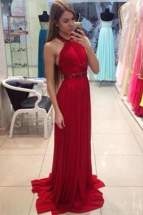 A Line Halter Red Chiffon Long Prom Dresses with Beading Cheap Evening XHMPST10285