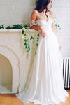 A Line Chiffon Sweetheart Lace Off the Shoulder Beach Wedding Dresses with XHMPST10203