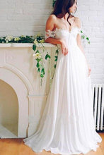 Load image into Gallery viewer, A Line Chiffon Sweetheart Lace Off the Shoulder Beach Wedding Dresses with XHMPST10203