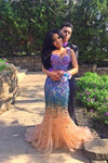 Sexy Elegant Mermaid Tulle Crystals Two Pieces V-Neck Luxurious Long Prom XHMPST13577