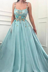 Elegant A Line Spaghetti Straps Tulle Scoop Prom Dresses with Appliques Formal Dresses XHMPST15512