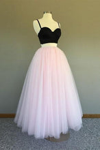 Load image into Gallery viewer, A Line Two Pieces Spaghetti Straps Black And Pink Prom Dresses Formal XHMPST20386