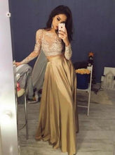 Load image into Gallery viewer, Elegant Long Sleeves Crew Stain Prom Dress/Evening Dress XHMPST14710