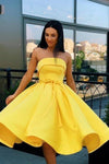 Simple Strapless Yellow Satin Ball Gown Short Homecoming Dresses Cocktail XHMPST13965