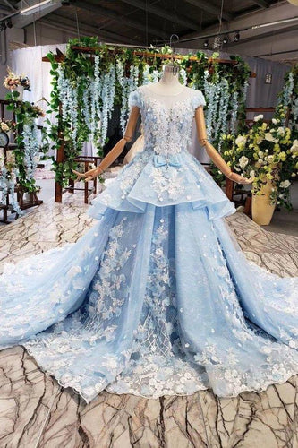 Princess Light Blue Ball Gown Cap Sleeve Prom Dresses with 3D Flowers Quinceanera XHMPST13273