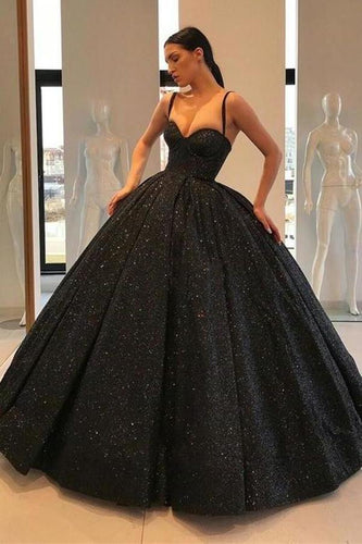 Spaghetti Straps Black Sweetheart Quinceanera Dresses Ball Gown Sequins Prom Dresses XHMPST15410