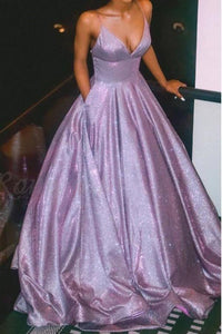 A Line Spaghetti Straps Long Prom Dress with Pockets Glitter Lilac V Neck Formal Dresses XHMPST15028