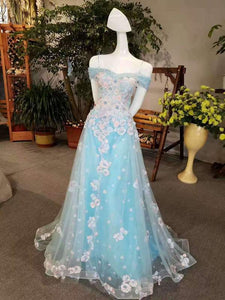 2020 Cheap Price Tulle Prom Dresses Lace Up With Appliques Off The XHMPST14569