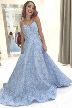 Load image into Gallery viewer, Sky Blue Floral Spaghetti Straps Prom Dresses Lace Appliques Backless Evening XHMPST14008