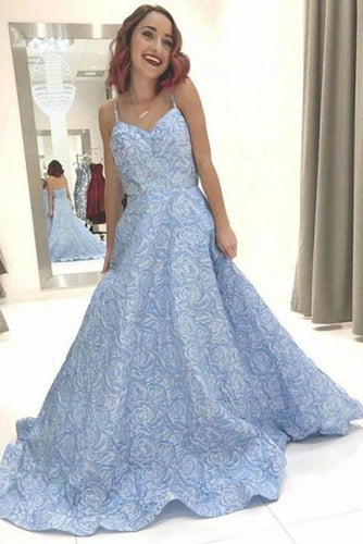Sky Blue Floral Spaghetti Straps Prom Dresses Lace Appliques Backless Evening XHMPST14008