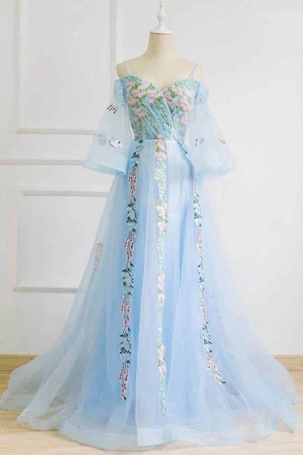 Light Blue Off the Shoulder Half Sleeve Prom Dresses Sweetheart Evening Dress XHMPST15238