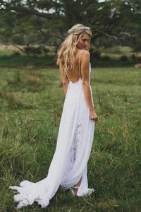 Simple Boho Spaghetti Straps Sweetheart Backless Chiffon Beach Wedding XHMPST13886