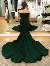 Load image into Gallery viewer, 2020 Charming Off-the-Shoulder Green Mermaid Sweetheart Beads Prom Dresses XHMPST14567
