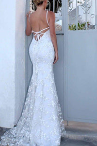 Sexy Backless Off White Mermaid Lace V Neck Wedding Dresses Long Prom XHMPST13522