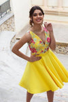 Yellow Floral Satin Illusion Back Daffodil V Neck Homecoming Dresses Short Cocktail XHMPST14549