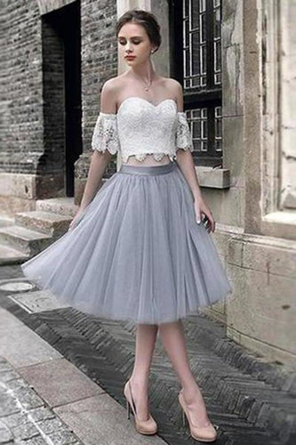 White Lace Tulle Two Pieces Off Shoulder Short Sleeve Short Prom Dress Homecoming XHMPST14504