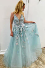 Load image into Gallery viewer, Spaghetti Straps Floral Beading Long Mint Green Prom Dress V Neck Tulle Formal XHMPST14033