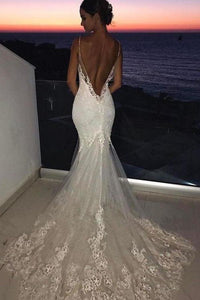 Sexy Mermaid Spaghetti Straps Wedding Dresses Lace Appliques Wedding Gowns with XHMPST13633