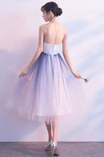 Load image into Gallery viewer, Simple Tulle White and Blue Ankle Length Halter Backless Sleeveless Graduation XHMPST13978