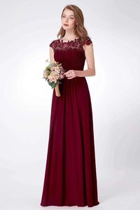 Elegant A Line Cap Sleeve Burgundy Lace Prom Dresses with Chiffon Bridesmaid Dresses XHMPST15145
