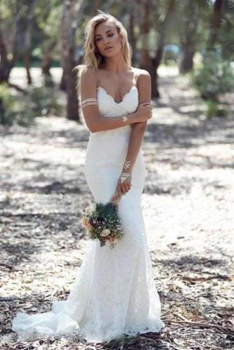 Sexy Spaghetti Straps Mermaid Lace Ivory Wedding Dresses V Neck Beach Wedding Gowns XHMPST15359
