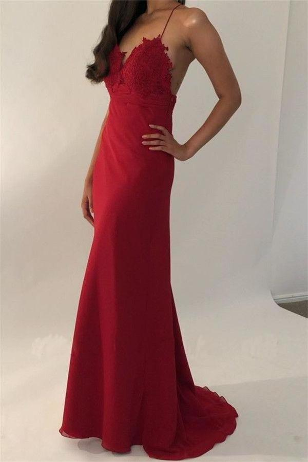 Sexy Red Spaghetti Straps V Neck Mermaid Prom Dresses Long Evening Dress XHMPST15597