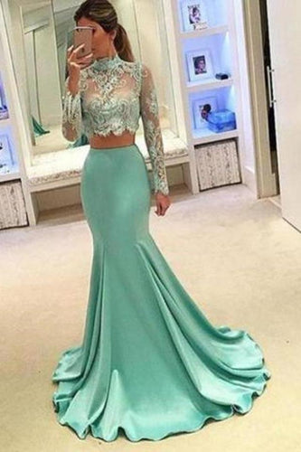 Pretty Two Pieces High Neck Long Sleeve Lace Prom Dress Sexy Mermaid Prom XHMPST13238