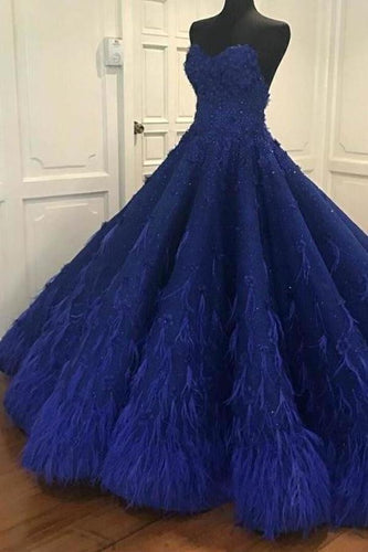 Princess Ball Gown Royal Blue Sweetheart Beads Sweet 16 Quinceanera Dresses XHMPST15588