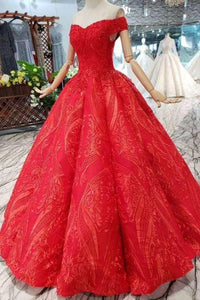 Red Off The Shoulder Lace Appliques Beads with Lace up Prom Dress Quinceanera XHMPST13373