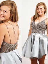 Load image into Gallery viewer, Straps Short Silver Beads Backless V-Neck A-Line Tulle Homecoming XHMPST14118
