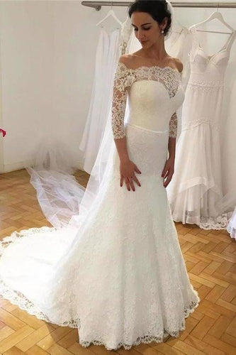 Unique Mermaid Off the Shoulder Ivory Lace 3/4 Sleeves Wedding Dresses Wedding Gowns XHMPST15460
