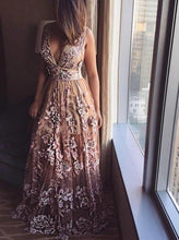 Load image into Gallery viewer, Deep V Neck Lace Applique A-line Prom Dresses Beads Long Formal Dresses XHMPST15139