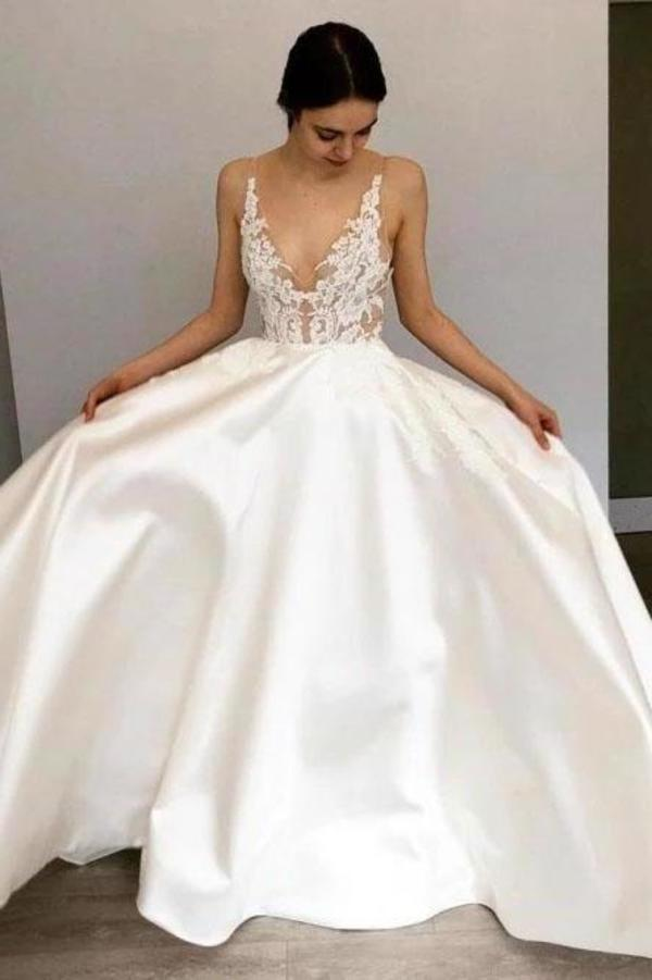 Simple A-Line Deep V Neck Satin Ivory Wedding Dress with Lace Appliques XHMPST15387