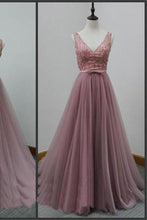 Load image into Gallery viewer, V-Back Tulle A-line Discount Party Cocktail Evening Long Prom Dresses XHMPST14411