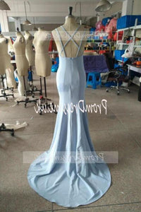 Fashion Light Blue High Neck Beads Long Two Piece Mermaid Halter Prom Dresses XHMPST14713