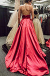 Simple V Neck Spaghetti Straps Red Satin Long Prom Dresses with Pockets Backless XHMPST14760