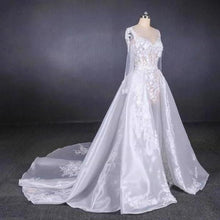Load image into Gallery viewer, Long Sleeve Sweetheart White Bridal Dresses with Applique Wedding Dresses XHMPST15250