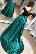 Load image into Gallery viewer, Unique A line Black And Green Long Elegant Off the Shoulder Satin Prom XHMPST14295