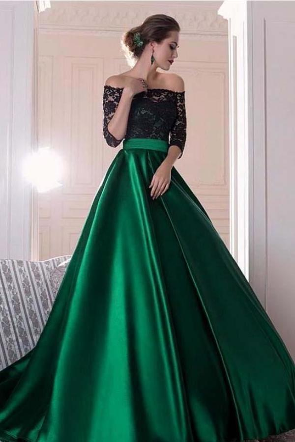 A Line Dark Green Satin Off the Shoulder 3/4 Sleeves Ruffles Lace Prom XHMPST10216