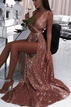 Load image into Gallery viewer, 2020 Charming Sexy Sequin Sparkly Simple Rose Gold and Black Split Fashion Prom Dresses XHMPST14568