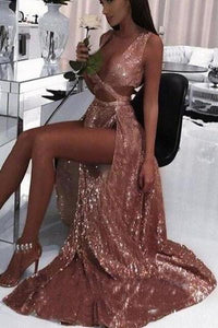2020 Charming Sexy Sequin Sparkly Simple Rose Gold and Black Split Fashion Prom Dresses XHMPST14568