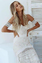 Load image into Gallery viewer, Unique Mermaid Off the Shoulder Straps Ivory Lace Beach Wedding Dress Bridal XHMPST14345