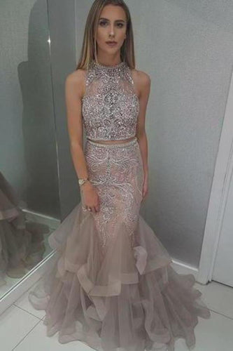 Two Pieces Mermaid High Neck Blush Prom Dress With Beading Evening XHMPST14280