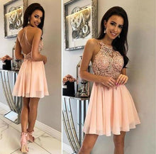 Load image into Gallery viewer, Unique Halter Chiffon Criss Cross Beads Short Sweet 16 Dresses Homecoming XHMPST14335