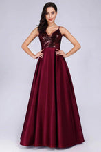 Load image into Gallery viewer, Deep V Neck Long Sleeveless Spaghetti Straps Burgundy Satin Evening Prom Dresses XHMPST15140