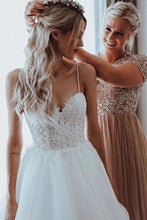 Load image into Gallery viewer, Elegant Tulle Spaghetti Straps V Neck Beaded Appliqued A-line Wedding Dresses XHMPST15208