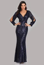 Load image into Gallery viewer, Long Split Sleeve Mermaid V Neck Dark Navy Blue Sequins Prom Dresses Formal Dress XHMPST15256